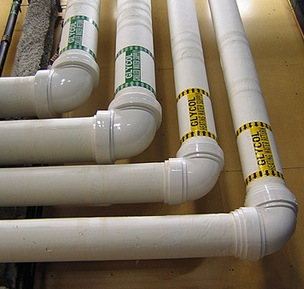 Pipes are often made from corrosion-resistant PVC