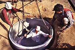 Hand dug well construction