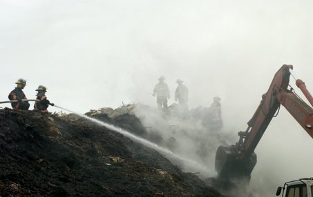This compost fire self-ignited