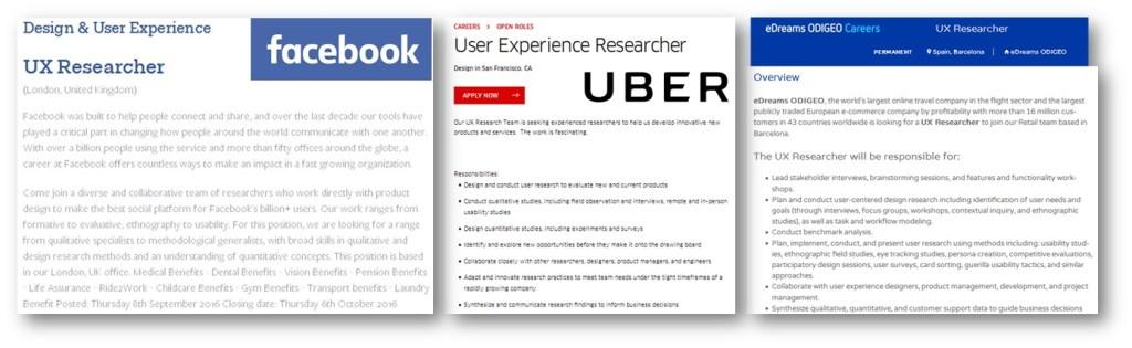 Ejemplos de ofertas publicadas para UX researchers en compañías como facebook, Uber o eDreams.