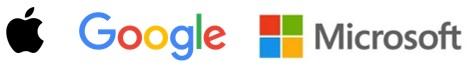 Logos de Apple, Google y Microsoft