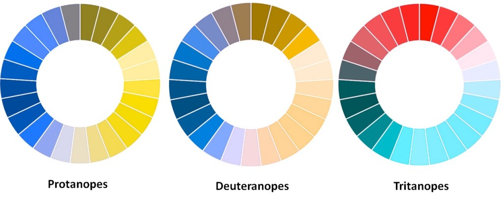 Simulación de color de la dicromatía: protanopia, deuteranopia y tritanopia.