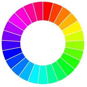 Rueda de matices de color, que muestra una gama de colores de rojo a rosado.