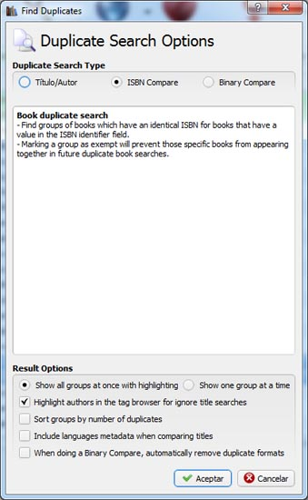 Opciones de búsqueda de libros duplicados en Calibre