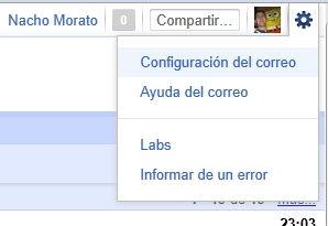 configurar las opciones del correo gmail
