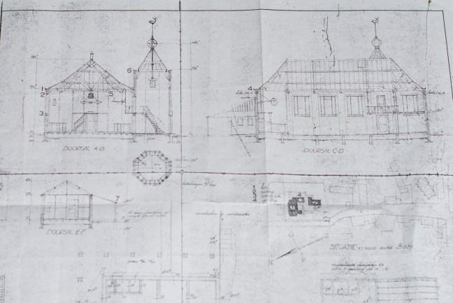 Tekening van de kerk