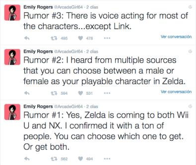 Emily Rogers  zelda rumores