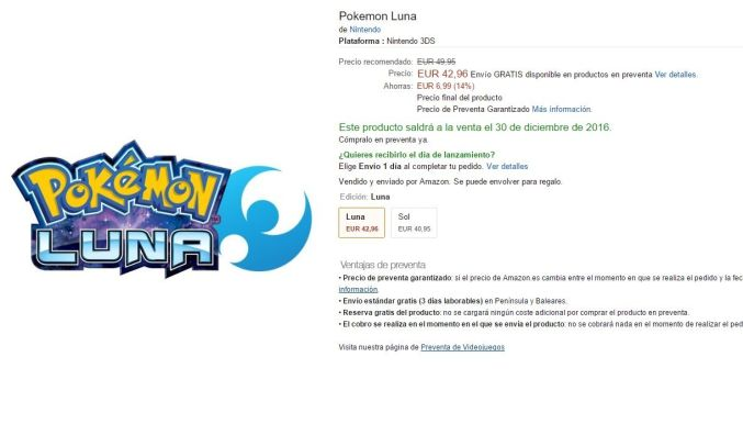 Pokemon luna y sol amazon lanzamiento