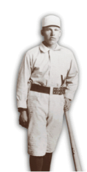 Dummy Hoy - a man with a white cap, white uniform and leaning on a bat.