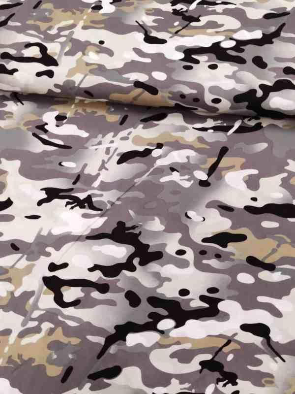 Baumwollstoff Camouflage Grau