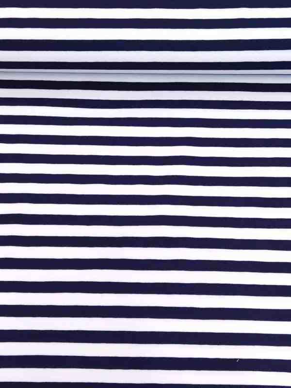 Jersey Streifen 10mm Marine/Weiß