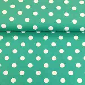 Jersey weiße Tupfen Smaragdgrün