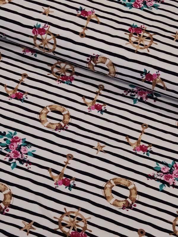 Jersey florale Anker auf Streifen