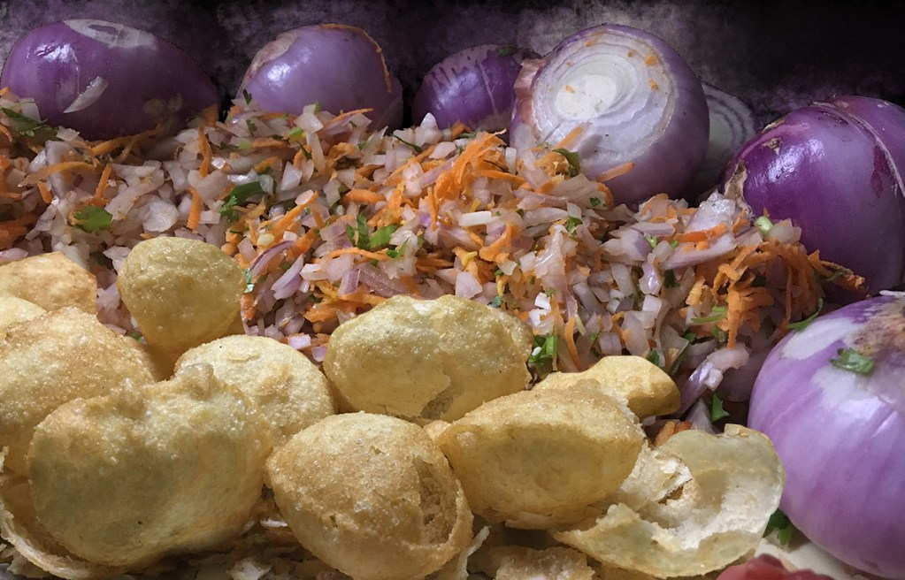 Pani Puri with cut onion, tomato and carrot
