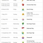Public Holidays in 2016 – 6 Long weekends!
