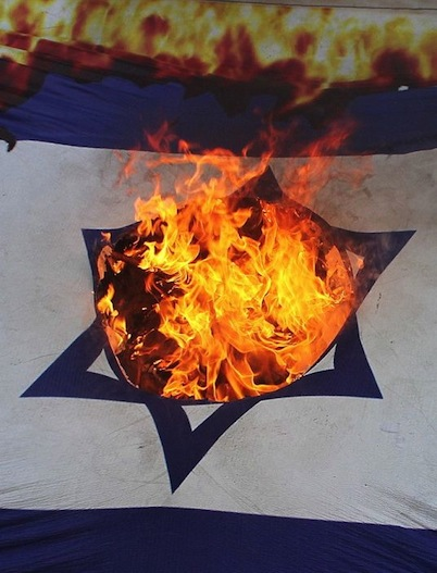 Israel flag burning
