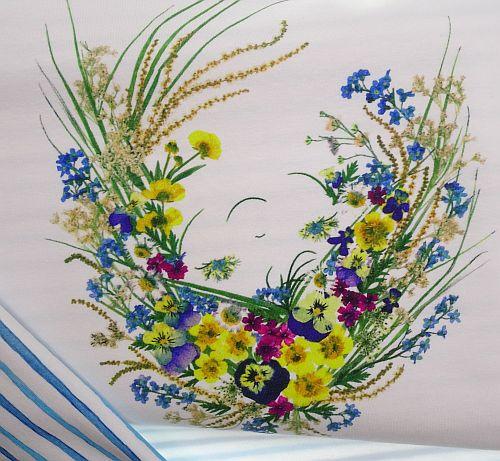 Baumwoll-Jerseystoff-weiß-mit-Blumen-Motiv-und-Streifen-blau