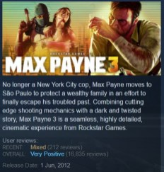 Max Payne 3 Steam page