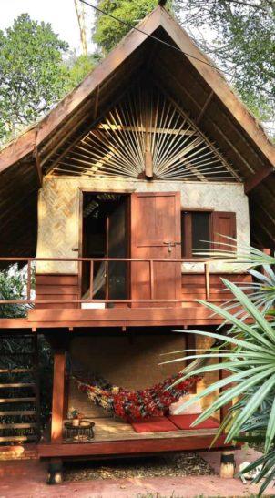 outside view jungle hut