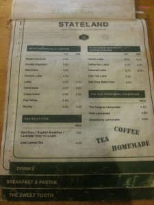 Stateland Cafe - Drinks Menu