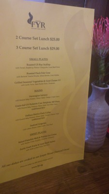 FYR Cycene Ond Drinc - Lunch Set Menu