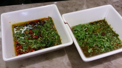 Fu Lin Men Dou Lao Singapore - Special Concoction Sauce, Spicy (left) and Non-spicy