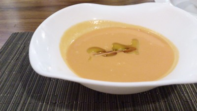 Ola Cocina Del Mar - Gazpacho, Cold tomato and cucumber soup with raspberry vinegar