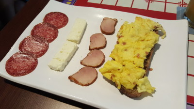 Romanian Brunch By Ro Dishes - Entree, Omelette in Romanian Style, assorted sausages and Sheep Cheese