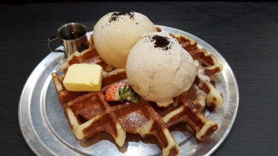 Oh My Tian Cafe, OMT - Waffle with An additional Scoop of Ice Cream ($12)