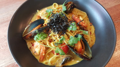 Rise And Grind Co On HollerOut App - Tom Yum Seafood Pasta ($17)