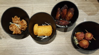 Face To Face Noodle House At City Square - Snacks - from left: Chef's Special Fried Wantan ($4), Deep Fried Fish Cake ($1.50), Fried Taucu Wings ($4.50), Bacon Cheese Ball ($5.50)