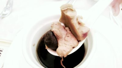 At Home In Peony Jade New Ala Carte - In the soup are Conch, Meat and Black Garlic