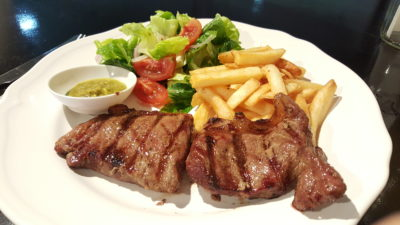 Paper Crane At SWCO, Bras Basah, Singapore - NZ PS Cap On Grilled Striploin (250g) with salad and fries ($25)