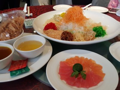 Usher Rooster Year With A Spread Of Abundance At Concorde Hotel In Orchard, Singapore - Salmon & Tuna Yu Sheng