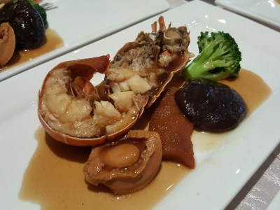 Usher Rooster Year With A Spread Of Abundance At Concorde Hotel In Orchard, Singapore - Braised Lobster and Baby Abalone, Sea Cucumber, Mushroom & Broccoli