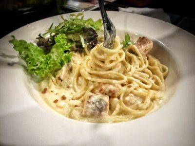 O'Coffee Club Xpress @ Raffles Xchange, O'Coffee Club Launches 'Grab & Go' Concept – Salmon Garlic Cream Pasta (Pasta of the Day)