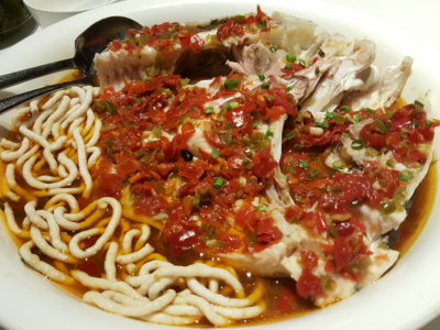 Ten Ten Hunan Bistro 十食湘, Delish Food With Outstanding Service, At Reel Mall - Steamed Fish Head With Red Minced Peppers served with fish noodles 霸王鱼头 (RMB 118)