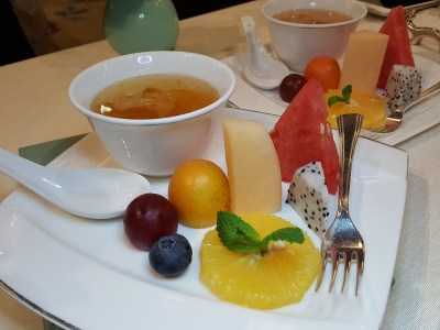"Wei Jing Ge Restaurant At Waldorf Astoria, China Restaurant Week Spring Winners' Edition, At The Bund - Seaonal Fruit Plate + Double-boiled Peach Gum Soup with ""Tian Shan"" Lotus 合时鲜果盘 + 桃胶炖天山莲子"