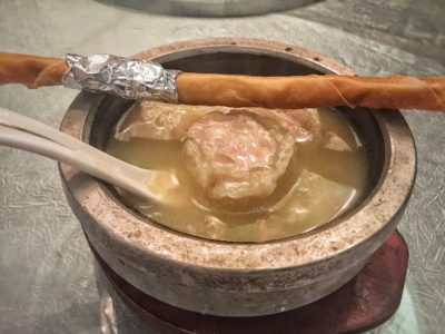 Crystal Jade Prestige At Marina Bay Financial Centre Introduces New Dishes, Downtown Singapore – Fish Maw Stuffed wit Chicken Thick Soup with Bamboo Pith in Hot Stone Bowl (S$28++ per person)