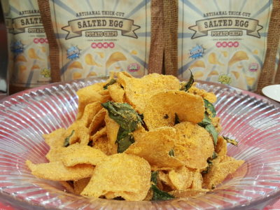 Salted Egg Snacks, Say What X Tip Top, Offerings Thick Cut Potato Chips And Chicken Puff At All Outlets - Say What Salted Egg Potato Chips ($7)