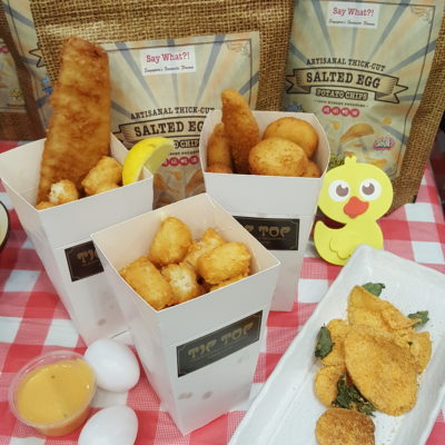 Salted Egg Snacks, Say What X Tip Top, Offerings Thick Cut Potato Chips And Chicken Puff At All Outlets - Say What X Tip Top