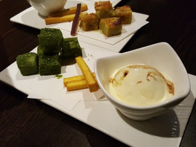 Hibiki Japanese Restaurant At Bukit Timah Road Offering Yakitori, Sake Shabu-Shabu And Many More - Matcha Warabi-mochi served with vanilla ice cream & palm sugar ($9.80)