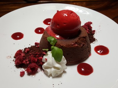 Tin Hill Social, Gorgeous Space With Delicious Food Near Perfection - Valrhona Moelleux, Textures of Raspberry, Chocolate Soil