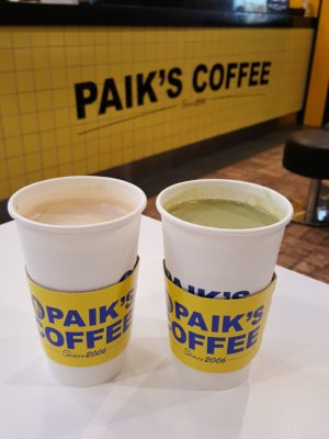 Paik Coffee, Value For Money Large Drinks And 1-For-1 Promotion - Vanilla Latte ($4.50) & Green Tea Latte ($4.50)