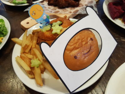 The Soup Spoon Union x Cartoon Network Cafe At Punggol Waterway Point Featuring Powerpuff Girls, Ben 10, Adventure Time and We Bare Bears - Finn Chicken Burger ($17.80)