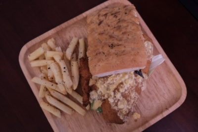 Meat Market Offering Quality Wood-Fire Grilled Meat At Heartland, Hougang 1 - Salted Egg Fried Fish Foccacia ($12.90)