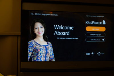 Flying Singapore Airlines Business Class SQ336 From Singapore To Paris - Screen