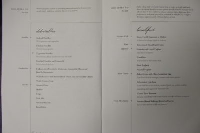 Flying Singapore Airlines Business Class SQ336 From Singapore To Paris - Breakfast and Delectables Menu