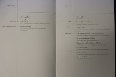 Flying Singapore Airlines Business Class SQ336 From Singapore To Paris - Breakfast Menu Continued