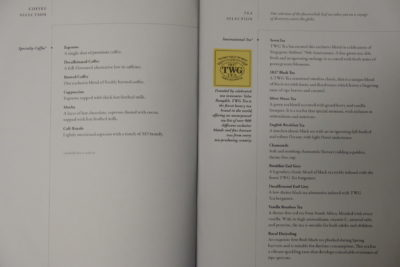 Flying Singapore Airlines Business Class SQ336 From Singapore To Paris - Tea Menu